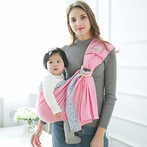 Baby Sling Ring Sling Carrier Wrap - Extra Soft Lightweight Cotton Baby Slings for Infant, Toddler, New-Born and Kids -Pink Flower Print