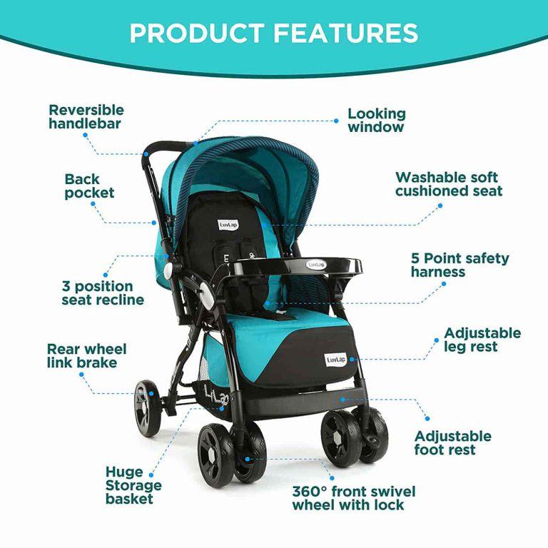 LuvLap Galaxy Stroller-Pram, Extra Large Seating Space, Easy Fold, for Newborn Baby-Kids, 0-3 Years Green-Black