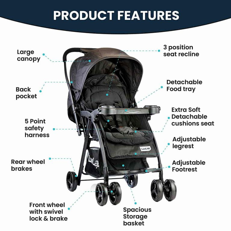 LuvLap Joy Stroller-Pram, Compact and Easy Fold, for Newborn Baby-Kids, 0-3 Years Black Color