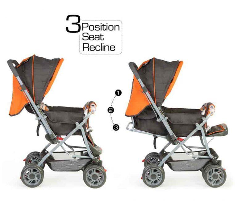 LuvLap Sunshine Stroller/Pram, Easy Fold, for Newborn Baby/Kids, 0-3 Years Orange Color